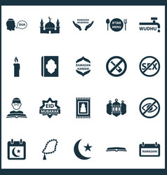 holiday icons set with menu beg holiday and vector image