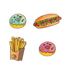 Hot dog donut potato fry set flat isolated vector