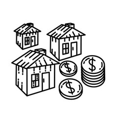 investment icon doodle hand drawn or outline icon vector image
