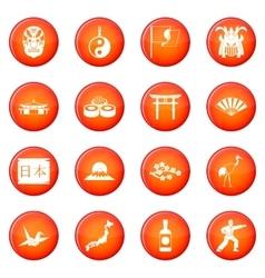 Japan icons set vector image