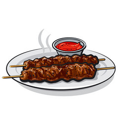 kebabs with sauce vector image