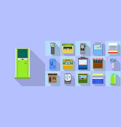 Kiosk icons set flat style vector