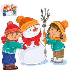 little girl and boy making a snowman vector image