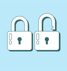 Lock icon in flat style lock open and lock closed vector