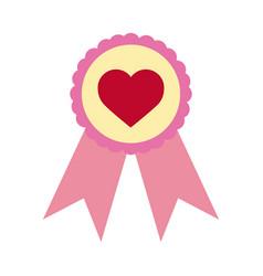 love heart romantic rosette award flat style icon vector image