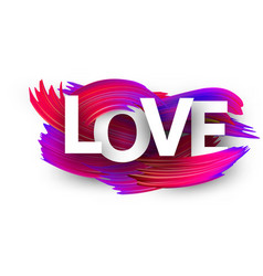 love sign with colorful brush strokes on white vector image