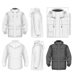 Men work hooded jacket vector image
