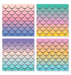 Mermaid tail pattern set paper cut out 3d fish vector