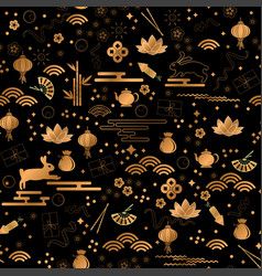 mid autumn festival gold style seamless pattern vector image
