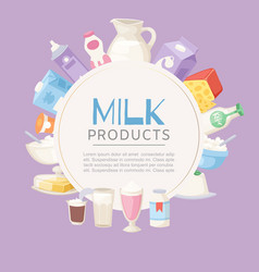 milk products poster with different sorts of vector image