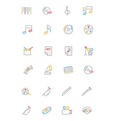 Music Colored Outline Icons 2 vector image