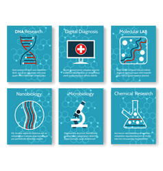Nanobiology and microbiology research cards vector
