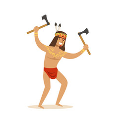 Native american indian in loincloth standing with vector