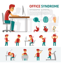 Office syndrome infographic elements man works on vector