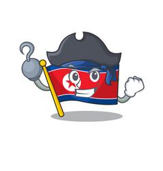 One hand pirate flag north korea scroll cartoon vector