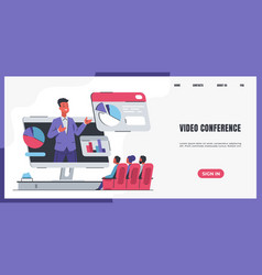 online meeting landing page website interface vector image