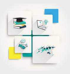 paper infographics and flat icons with long shadow vector image