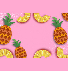 Pineappple top view anana in paper cut style vector