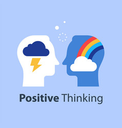 Positive or negative thinking cloud and rainbow vector