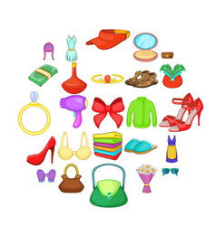 purchases icons set cartoon style vector image