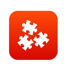 puzzle icon digital red vector image