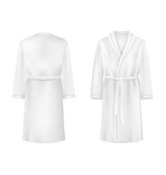 realistic white bathrobe mockup isolated vector image