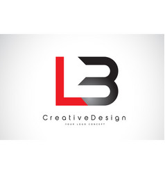 Red and black lb l b letter logo design creative vector