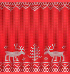 Red knitted sweater with deer knitted pattern vector