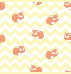 Seamless pattern with lazy fox lazy animal vector