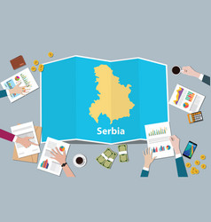 Serbia economy country growth nation team discuss vector