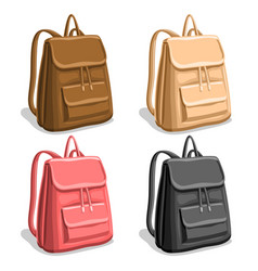Set colorful woman backpacks vector