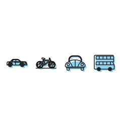 Set line car volkswagen beetle sedan car bicycle vector