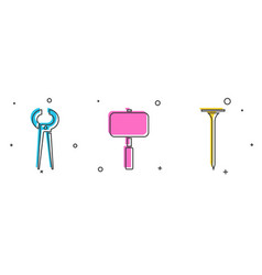 Set pincers and pliers sledgehammer and metallic vector