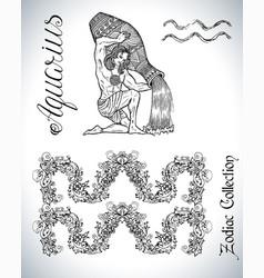 set with aquarius zodiac sign and mascot drawing vector image