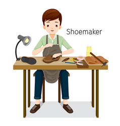 shoemaker repairing man shoes he sewing on shoe vector image