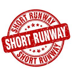 Short runway red grunge stamp vector