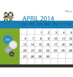 Simple 2014 calendar April vector image
