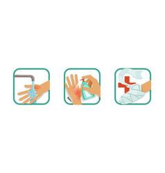 skin burn injury treatment set treating hand vector image