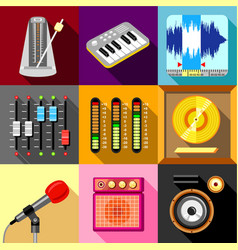Sound recording studio icons set flat style vector