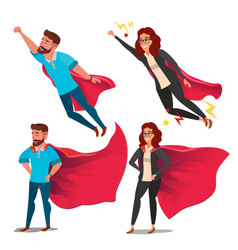Super business woman character red cape vector