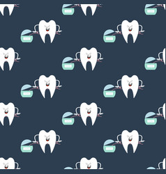 Tooth and dental floss pattern vector