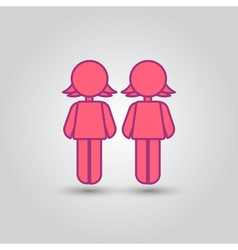 Two female stick figures standing beside each vector image