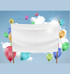 White fabric banner with multicolored balloons vector