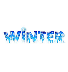 winter word with paper cut trees icicles vector image