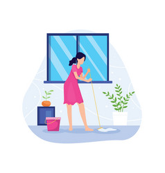 Woman mopping floor vector