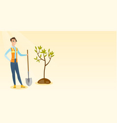 Woman plants tree vector