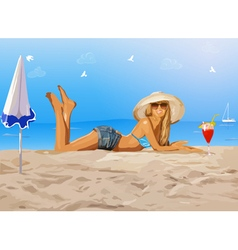 Young slim woman on beach vector image