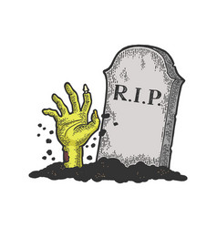 Zombie dead man hand out grave sketch vector