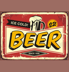 beer vintage tin sign vector image