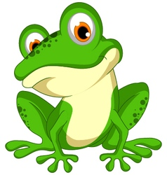 funny Green frog cartoon sitting vector image